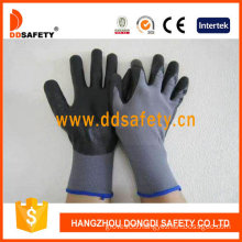 13 Gauge Grey Nylon Liner. Black Ultra Thin Foam Nitrile Glove (DPU415)